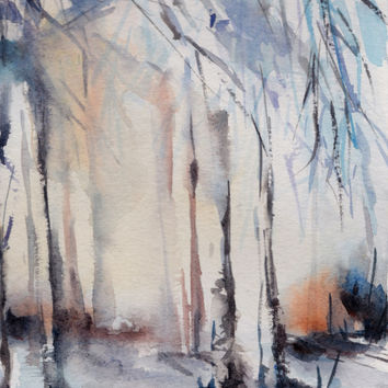 Watercolour Art - Winter Landscape, Original Watercolor Painting, Nature, Abstract, Modern Art, Winter  Forest