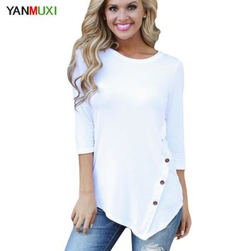 Women Autumn Plus size Casual Shirts Black White Solid Long sleeve Cotton T Shirt Female Elegant Button Tee Tops 2XL 3XL