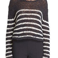T by Alexander Wang Stripe Knit Crop Pullover | Nordstrom