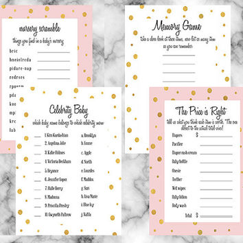 Gold pink and white baby shower party package 4 piece party game set price is right word scramble celebrity baby memory game girl shower