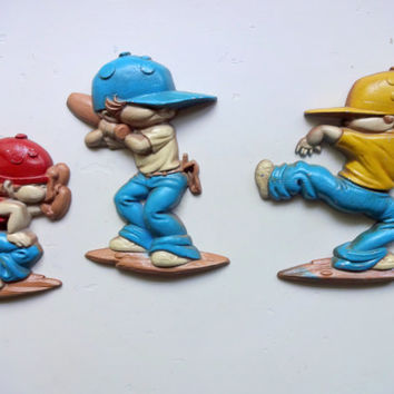 Vintage Set of Cast Iron Baseball Player  Wall Hangings 1979
