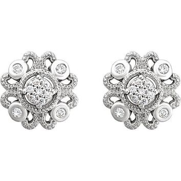 1.6TCW Round Cut Ethically Mined Natural Diamond Medallion Stud Earrings