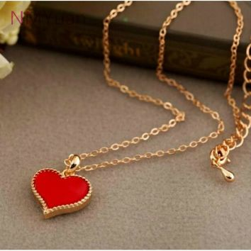 Red Hearts With Love Necklace