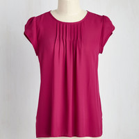 Charmer in Charge Top in Raspberry | Mod Retro Vintage Short Sleeve Shirts | ModCloth.com