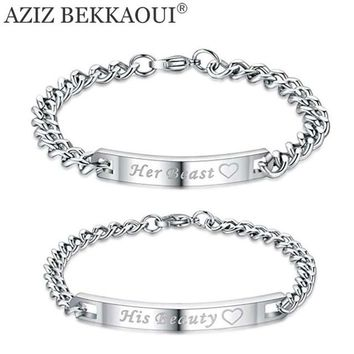 AZIZ BEKKAOUI Lover Couple Bracelets with Box Named Bracelets For Women Men Stainless Steel Men