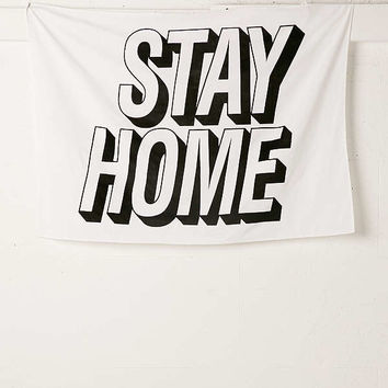 Stay Home Text Tapestry | Urban Outfitters