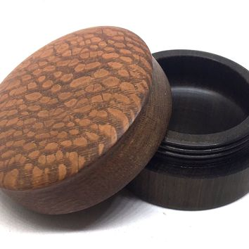 LV-4696 Leopardwood cap with Suriname Ironwood  Flat Box for Ring, Jewelry, Pills-SCREW CAP