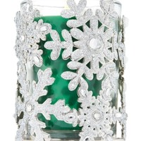 Medium Candle Sleeve Glittering Snowflakes