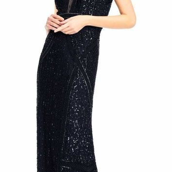 Adrianna Papell - AP1E202404 Beaded Plunging V-Neck A-Line Gown