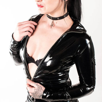 Black Cat - Black Wetlook Jacket Rock Rocker Glam Glamrock Newrock Deathrock Gothic Metal Blackmetal Deathmetal Gogo Bizarre Fetisch Sexy