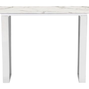 Atlas Console Table Faux Marble & Brushed Stainless Steel