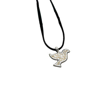 Peace Dove Sterling Silver Mother Of Pearl Suede Necklace
