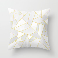 White Stone Throw Pillow by Elisabeth Fredriksson