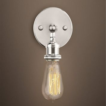Factory Industrial Bare Bulb Filament Wall Lamp - Chrome