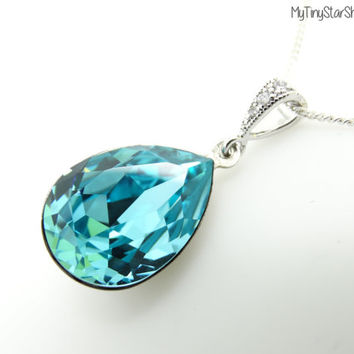 Teal blue Necklace Turquoise Necklace Swarovski crystal Necklace Wedding Jewelry Bridesmaid gift