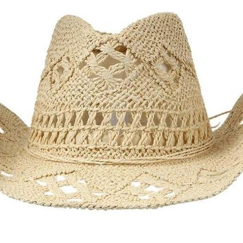 Women's Casual Solid Straw Hat- Panama Cowboy Hollow Out Beach Sun Hat
