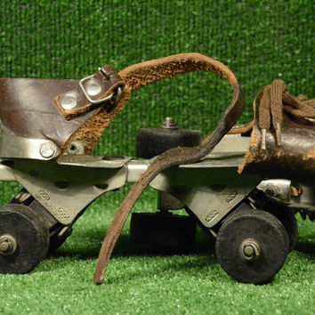 Rare Vintage Roller Skates Natural Brown Leather, Metal Roller Skates Adjustable, Unisex, Gift idea