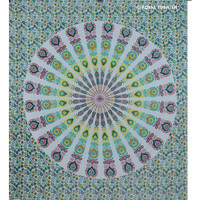 Blend of Yellow  White Peafowl Mandala Tapestry Wall Hanging Bedspread on RoyalFurnish.com