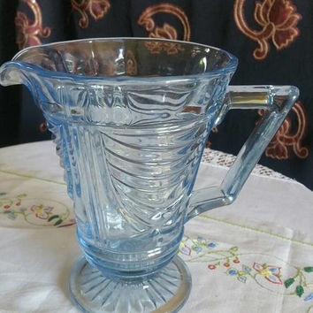 Art Deco blue glass pitcher /pressed glass jug/glass water jug/ships worldwide