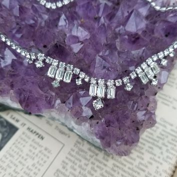 Kramer of New York delicate baguette rhinestone necklace signed vintage jewelry