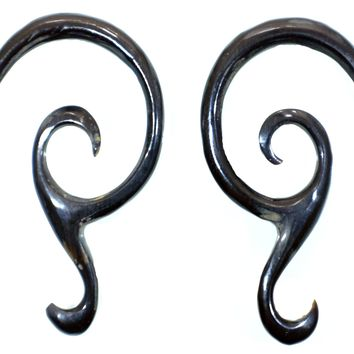 Hand Carved Horn and Bone Spiral Gauged Earrings
