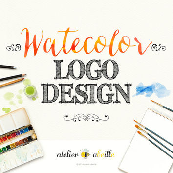 WATERCOLOR logo watercolor floral logo website logo blog logo business logo branding Etsy shop logo custom logo premade logo identity design