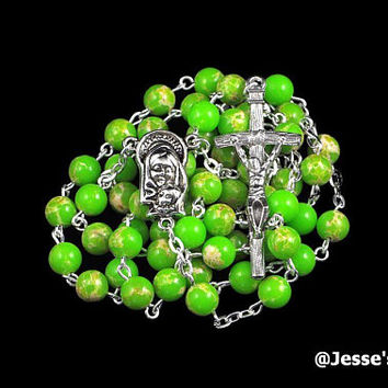 Catholic Rosary Beads Apple Green Imperial Jasper Natural Stone Silver Traditional Jasper Rosary Five Decade Catholic Gift Papal Crucifix