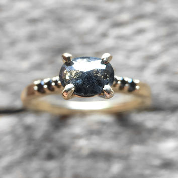 Ready to ship - One of a kind - Sloan with black rose cut galaxy diamond - Black diamond 10k gold