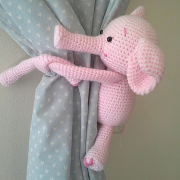 Elephant Curtain Tie Back, Crochet Elephant, Amigurumi