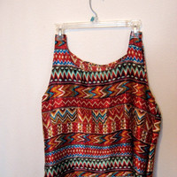 Aztec tribal print tank top shirt One size by wildblacksheep