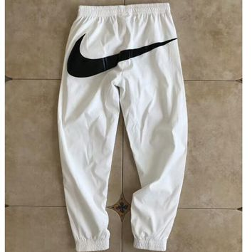 NIKE New Fashion Women Men Loose Sport Pants Casual big hook Sweatpants C-AA-XDD White
