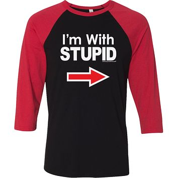 Buy Cool Shirts I'm With Stupid T-shirt White Print Raglan