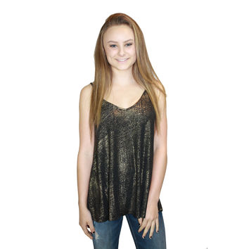 Metallic Foil Knit Cami Tank in Gold