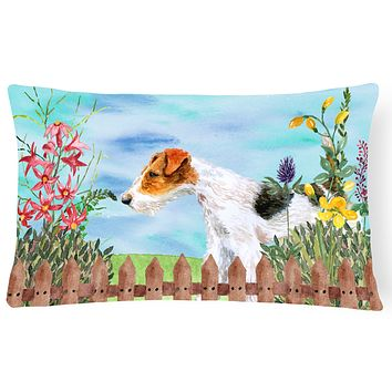 Fox Terrier Spring Canvas Fabric Decorative Pillow CK1212PW1216