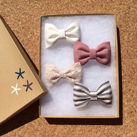 Cream lace, mauve, navy pinstripe, and winter white Seaside Sparrow hair bow lot. Urban Outfitters and Brandy Melville inspired colors.