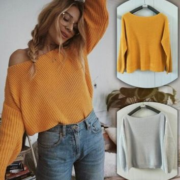 Women's Loose Round Neck Pullover Criss Cross Backless Sweater Knit Jumper