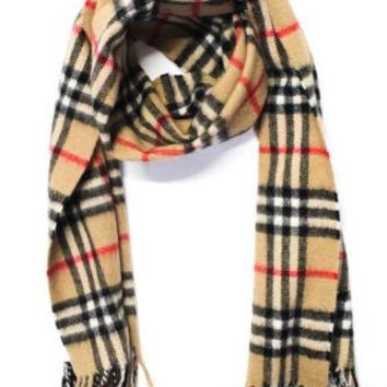 Burberrys Brown Black Red Cashmere Plaid Fold Over Scarf