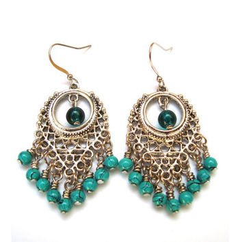 Chandelier Earrings, BoHo Style, Beaded Earrings, Gypsy Style, Turquoise Blue Green. Beaded Jewelry