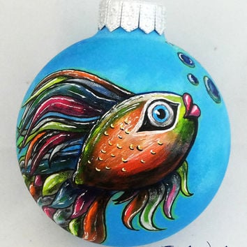 Christmas ball Christmas Ornament Hand Painted Bauble Glass New year Christmas Craft Fish Gift Blue Yellow Orange Green Colored See Unique