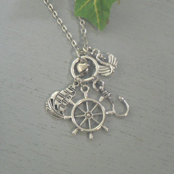 I Love Captain Hook Necklace Once Upon A Time  Necklace OUAT Inspired Jewelry Pirate Jewelry