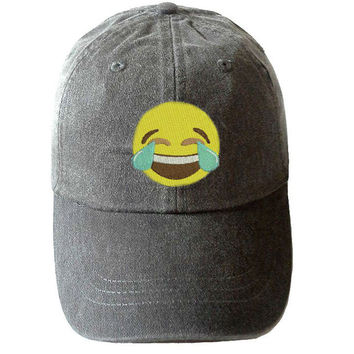 Laughing Emoji Cap - Emoji Hats - Emoticon apparel - Social Media Emoji Hat - Emoticon Hat - Laughing face Hat - Gift for Boyfriend - emojis
