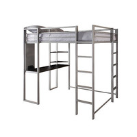 Dorel Home Products Full Abode Loft Bed with Desk and Shelves - Silver and Black