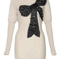 Beige Long Sleeve Knit Sweater with Black Bow Front