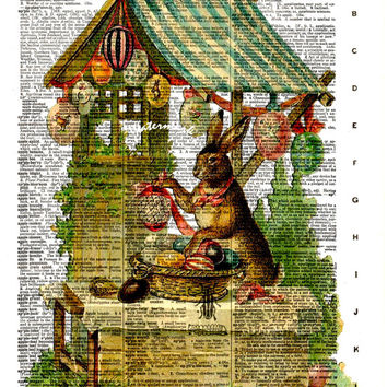 Easter Bunny Rabbit, Colored Eggs - Vintage Dictionary Decorative Art Print - Page Size 8.5x11