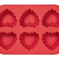 Wilton Ruffled 6 Cavity Silicone Heart Mold Pan