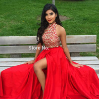 Pretty Red Two Piece Prom Dresses 2017 Vestidos Cortos De Gala High Neck Beaded Rhinestones Women Formal Evening Party Gowns
