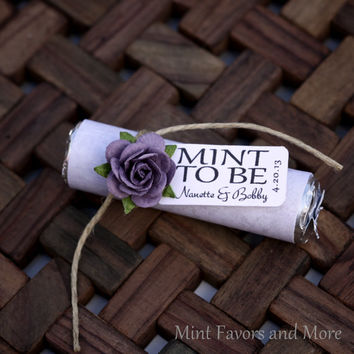 "Mint Wedding Favor with Personalized ""Mint to be"" tag - set of 24 favors - purple, plum, winery, lilac, lavender"