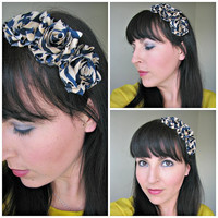 Navy Tan Stripe Shabby Chic Flower Headband with suede leather