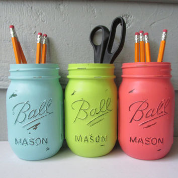 Dorm Decor-Painted and Distressed Ball Mason Jars- Lime Green, Light Turquoise and Coral Flower Vases, Rustic Wedding, Centerpieces