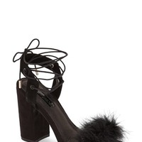Topshop Marabou Feather Lace-Up Sandal (Women) | Nordstrom
